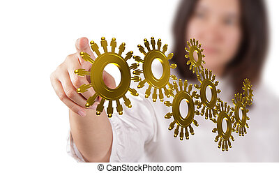 gold people cogs as concept - businesswoman hand and gold...