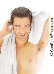 Man with towel