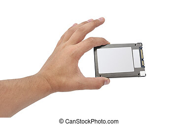 solid-state disk in hand on a white background