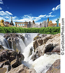 World landmarks - Falls with woods and world landmarks in...