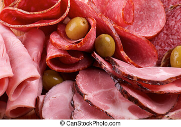 Assorted Meat delicatessen - Background of Assorted Meat...
