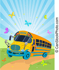 School Bus - Colorful background with riding school bus
