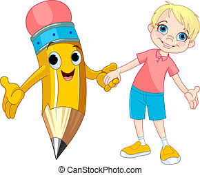 Boy and pencil - Little boy holding the hand of a giant...
