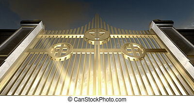 The Golden Pearly Gates Of Heaven - The gold pearly gates of...