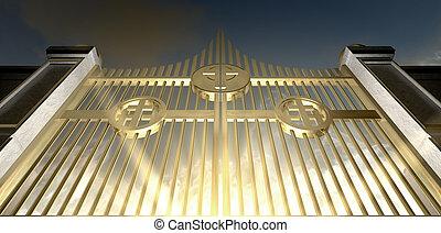 a, dourado, Perolado, portões, de, céu