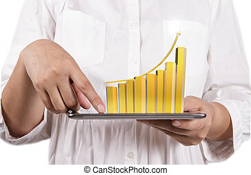 virtual gold graph with tablet computer - business woman...