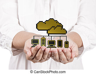 hands hold golden pixel cloud network sign as concept -...