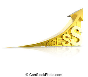 golden success arrow as business concept