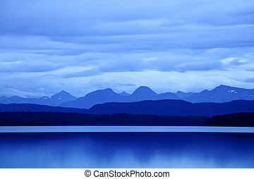 Twilight at Moldefjord - Blue twilight at Moldefjord in...