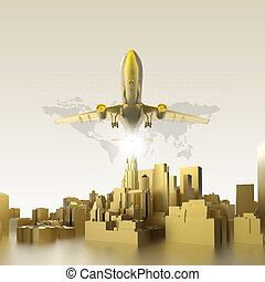 golden plane flying above abstract gold city