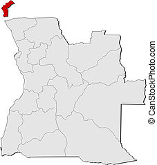 Map of Angola, Cabinda highlighted