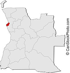 Map of Angola, Luanda highlighted