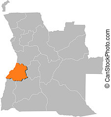 Map of Angola, Benguela highlighted