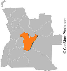 Map of Angola, Bie highlighted