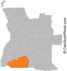 Map of Angola, Cunene highlighted