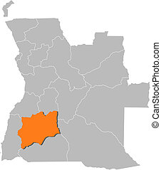 Map of Angola, Huila highlighted