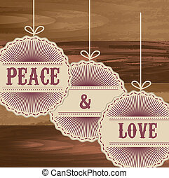 peace and love tags over wooden background. vector