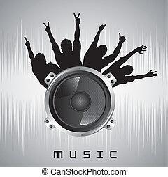 music vector - speaker with silhouette men over gray...