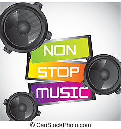 non stop music with speakers over gray background. vector