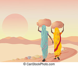 end of a working day - an illustration of two asian women...