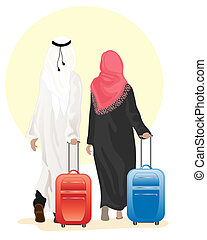 arab couple with suitcase - an illustration of an arab...