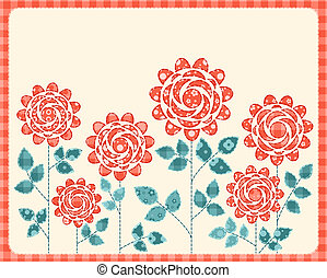 Patchwork roses card. Vector illustration.
