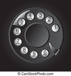 Rotary Phone Dial with numbers and letters. vector