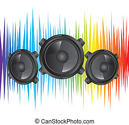 speakers - colorful black speakers over white background...