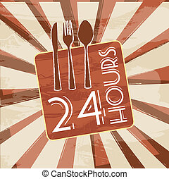 24 hours sign over vintage background vector illustration