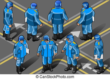isometric set of military peacekeepers in eight position -...