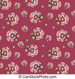 Flowers seamless pattern on bordo background, eps 8