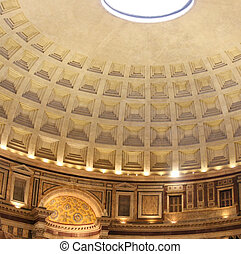 inside the Pantheon, Rome, Italy - Wide angle view inside...