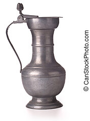 pewter beer jug - Antique pewter beer jug with lid on white...
