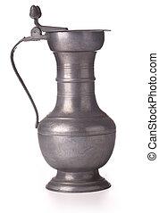 pewter beer jug - Antique pewter beer jug with lid on white...