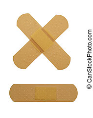 sticky bandaid - Crossed bandaid isolated over white