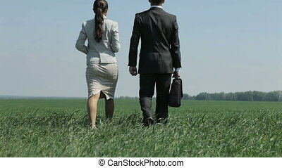 New horizon - Businessman and his loyal assistant walking...