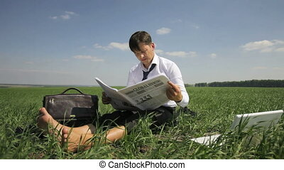 Tired of news - Businessman reading the newspaper then...
