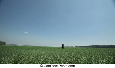 Peaceful view - Peaceful businessman walking towards the...