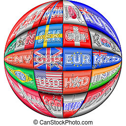 International currencies - Illustration of foreign exchange...