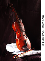 Violin - Composition of music notes with old violin
