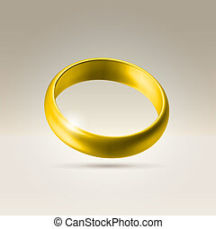 Shining golden wedding band ring - Golden glossy wedding...