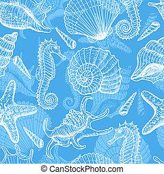 Sea hand drawn seamless pattern - Sea seamless pattern...