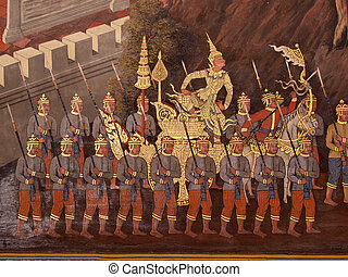 Wall art painting in temple Thailand painting about Ramayana...