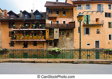 Old European Canal Houses Salmon Color