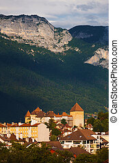 Annecy Old Town Mountains Distant - A distant view of the...