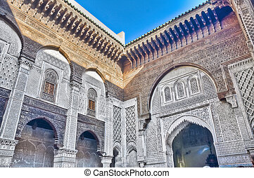 El-Attarin Madrasa at Fez, Morocco - El-Attarin Madrasa...