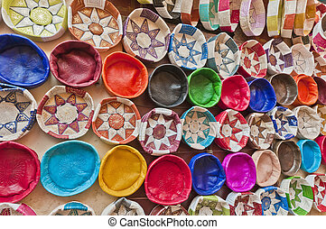 Souk of Fez, Morocco - Leather handicrafts on the souk of...