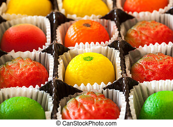 Macro image of marzipan fruit candies