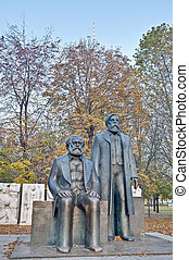 Statue of Karl Marx and Friedrich Engels at Berlin, Germany...