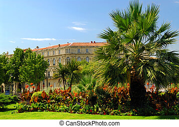 City park in Nimes France - Lush green park in city of Nimes...